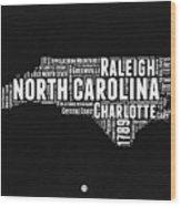 North Carolina Black And White Word Cloud Map Wood Print