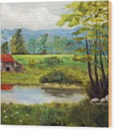 North Carolina Farm Wood Print