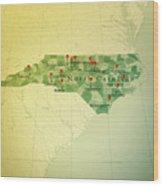 North Carolina Map Square Cities Straight Pin Vintage Wood Print
