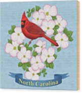 North Carolina State Bird And Flower Wood Print by Crista Forest