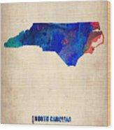 North Carolina Watercolor Map Wood Print