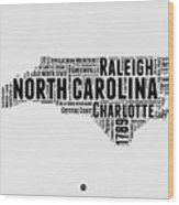 North Carolina Word Cloud Map 2 Wood Print