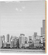 North Chicago Skyline Panorama In Black And White Wood Print