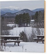 North Conway Winter Mountains Wood Print