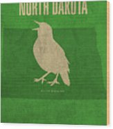 North Dakota State Facts Minimalist Movie Poster Art Wood Print
