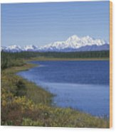 North Face Of Mount Mckinley, Lake Wood Print