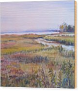 North Fork Marsh Wood Print