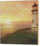 North Head Lighthouse At Sunset Wood Print