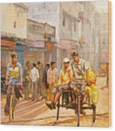 North India Street Scene Wood Print