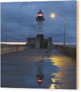 North Pier Reflections Wood Print