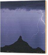 North Scottsdale Arizona Pinnacle Peak Monsoon Wood Print