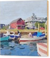 North Shore Art Association At Pirates Lane On Reed's Wharf From Beacon Marine Basin Wood Print