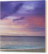 North Shore Beach Sunset Wood Print