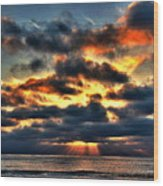 North Shore Sunset Wood Print
