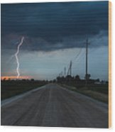 North Talbot Road Lightning Wood Print