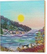 North With Yellow Sun Wood Print