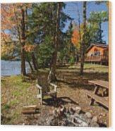 North Woods Lake Three Wood Print