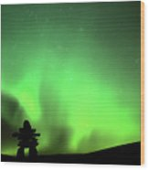 Northern Light Above An Inukchuk In Saskatchewan Wood Print