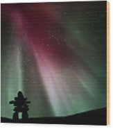 Northern Lights Above An Inukchuk In Saskatchewan Wood Print