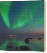 Northern Lights Aurora Borealis In Northern Europe Wood Print