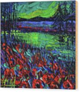 Northern Lights Embracing Poppies Wood Print