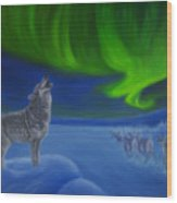 Northern Lights Night Wood Print