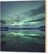 Northern Lights Over Jokulsarlon Wood Print by Matteo Colombo