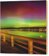 Northern Lights Over Okanagan Lake Canada Wood Print