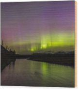 Northern Lights Over The North Fork Of The Flathead River Wood Print
