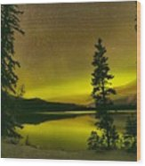Northern Lights Over The Pines Wood Print