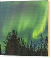 Northern Lights Sapmi Forest Karasjok Norway Wood Print