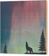 Northern Lights Stardust Wood Print by Jackie Novak