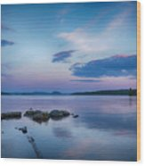 Northern Maine Sunset Over Lake Wood Print