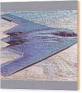Northrop Grumman B-2 Spirit Stealth Bomber Enhanced With Double Border II Wood Print