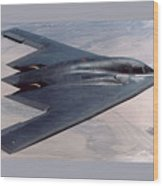 Northrop Grumman B-2 Spirit Stealth Bomber With Double Border Wood Print