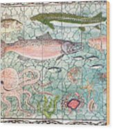Northwest Fish Mural Wood Print by Dy Witt