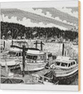 Gig Harbor Yacht Moorage Wood Print