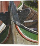 Norway, Reine, Boat In Fishing Village Wood Print
