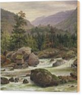 Norwegian Waterfall Wood Print