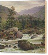 Norwegian Waterfall Wood Print by Thomas Fearnley