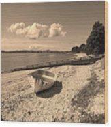 Nostalgia Boat On Beach Wood Print