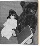 Nostalgic Doll And Bear With Reading Book Wood Print