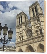 Notre Dame And Lamppost Wood Print