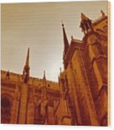 Notre Dame At Sunset Wood Print