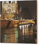 Notre Dame Bridge Paris France Wood Print