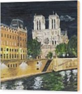 Notre Dame Wood Print by Bruce Schmalfuss