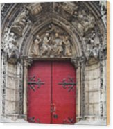 Notre Dame Cathedral Side Door Architecture In Paris Wood Print