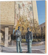 Notre Dame Library And Statue Wood Print