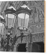 Notre Dame Street Lights Paris France Black And White Wood Print