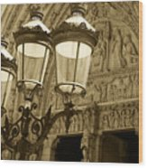 Notre Dame Street Lights Paris France Sepia Wood Print